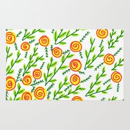 Yellow Roses Green Leaves Floral Pattern Rug