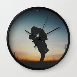 WOMAN - MAN - MOON - SUNSET - PHOTOGRAPHY Wall Clock