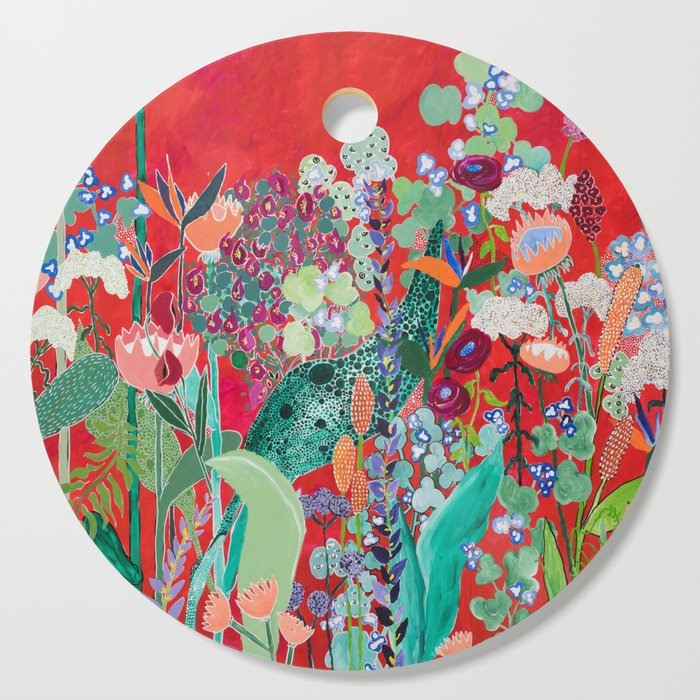 Red floral Jungle Garden Botanical featuring Proteas, Reeds, Eucalyptus, Ferns and Birds of Paradise Cutting Board