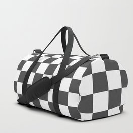 Gingham Dark Slate Grey Checked Pattern Duffle Bag