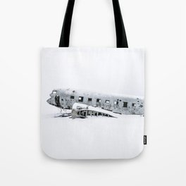 Plane Wreck in Iceland in Winter - Landscape Photography Minimalism Tote Bag