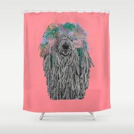 Dredlock Dog (Pastel Red Edition) Shower Curtain