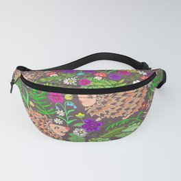 Hegehog fall forest, rainbow flowers and robins Fanny Pack