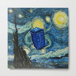 Tardis Dr. Who Starry Night Metal Print