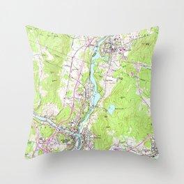 Vintage Lebanon & Hanover New Hampshire Map (1959) Throw Pillow