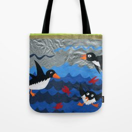 Penguin Vinyl Cut Collage Tote Bag
