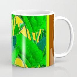 COFFEE BROWN TROPICAL GREEN & GOLD FOLIAGE ART Coffee Mug