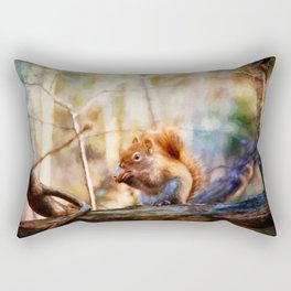 Red Squirrel with Pinecone Rectangular Pillow