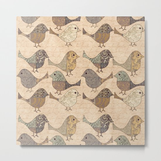 Nostalgic Autumn Patchwork Bird Pattern in warm retro colors #autumndecoration Metal Print