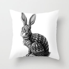 Ornate Rabbit Throw Pillow