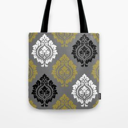 Decorative Damask Pattern BW Gray Gold Tote Bag