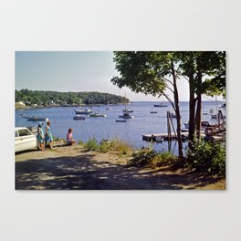 Marion Village in Rockport - Camden, Maine in the early 1960's, Retro Harbor Canvas Print