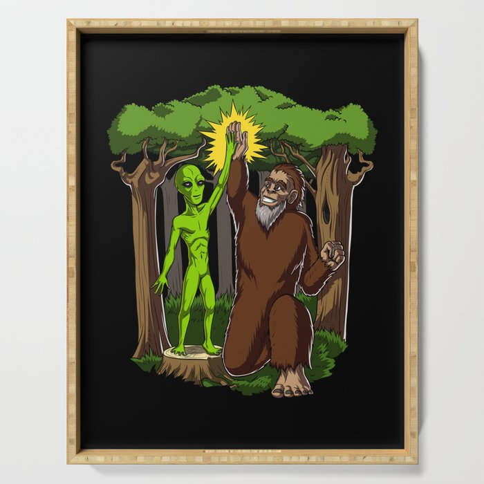 Alien Bigfoot Funny Fantasy Conspiracy Serving Tray