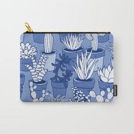 Succulents - Monochrome Blue Carry-All Pouch