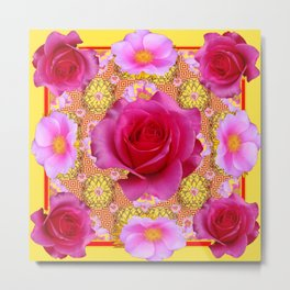 Fuchsia Pink Rose Patterns Sunflower YellowFloral  Art Metal Print