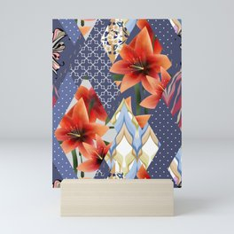 """A series of """"Favorite patchwork"""". Lilies with blue fabrics. Mini Art Print"""