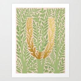 Botanical Metallic Monogram - Letter U Art Print