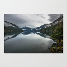 Fog Mountains Lake Reflection - Olympic NP - foggy trees mountains tree adventure misty travel 3 Canvas Print