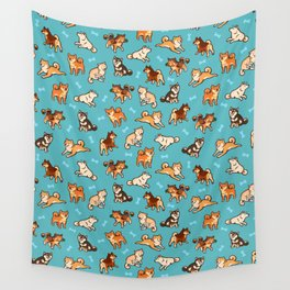 shibas in blue Wall Tapestry