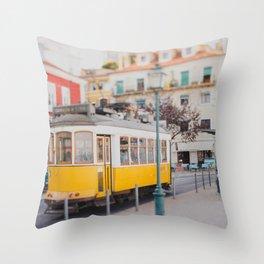 Yellow Tram in Lisbon Throw Pillow