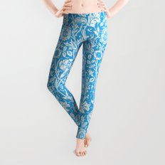 """William Morris Floral Pattern   """"Pink and Rose"""" in Turquoise Blue and White Leggings"""