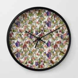 Floral with Watering Can Wall Clock