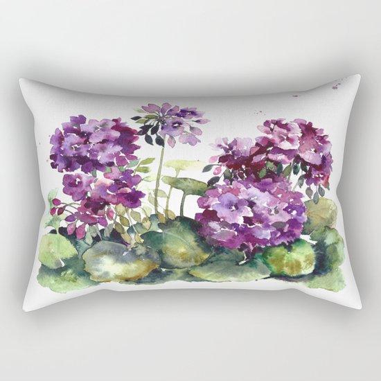 Purple violet pelargonium geranium flowers watercolor Rectangular Pillow