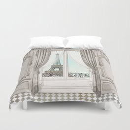 Eiffel Tower room with a view Duvet Cover