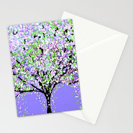 TREES OIL PAINTING PURPLE Stationery Cards