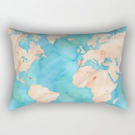 Blue Map Rectangular Pillow