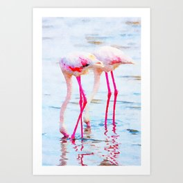 Flamingo Pink #wildlife #watercolor Art Print