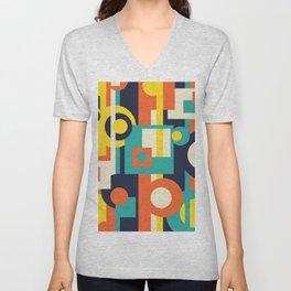 Funky Geometry (Modern Vibrant Color Palette) Unisex V-Neck