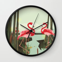 Flamingos in the Swamp Wall Clock