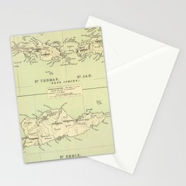 Vintage Map of The Virgin Islands (1853) Stationery Cards