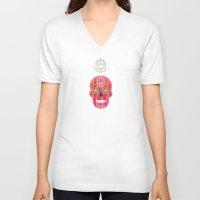 sugar skulls V-neck T-shirts featuring Skulls by Lucky Skye