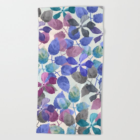 watercolor Botanical garden II Beach Towel
