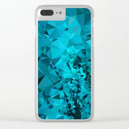 Teal Geometric Pattern Clear iPhone Case
