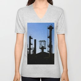 Silhouette Oil Refinery In Ventura Unisex V-Neck