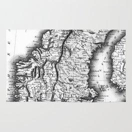 Vintage Map of Norway and Sweden (1831) BW Rug
