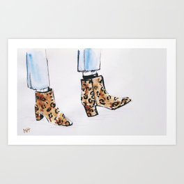 Leopard Boots Art Print