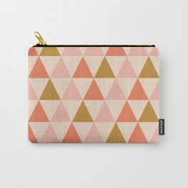 Arrow Pattern 1 in Ochre Gold and Millennial Pink. Geometric Minimalism Carry-All Pouch