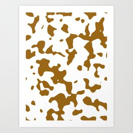 Large Spots - White and Golden Brown Art Print