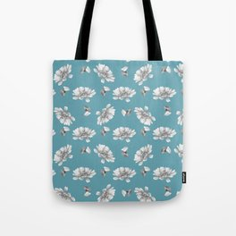 Hand painted gray white watercolor floral daisies Tote Bag
