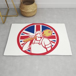 British Locksmith Union Jack Flag Icon Rug