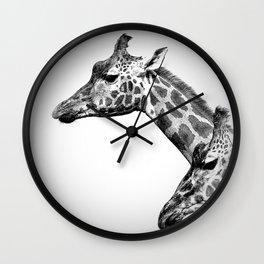 Giraffes Black And White Wall Clock