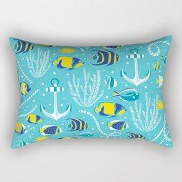Deep Blue Sea Aqua Rectangular Pillow