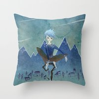 jack frost Throw Pillows featuring Jack Frost by Serena Rocca