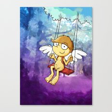 Angel boy on a swing Canvas Print