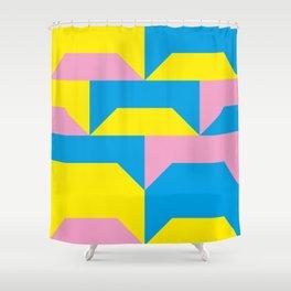 Trapezi e altre forme. Rosa, azzurro, giallo. Sembrano piccoli ponti per bambini, fatti in legno. Shower Curtain