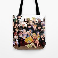 fairy tail Tote Bags featuring Fairy Tail 8th Anniversary by Minty Cocoa